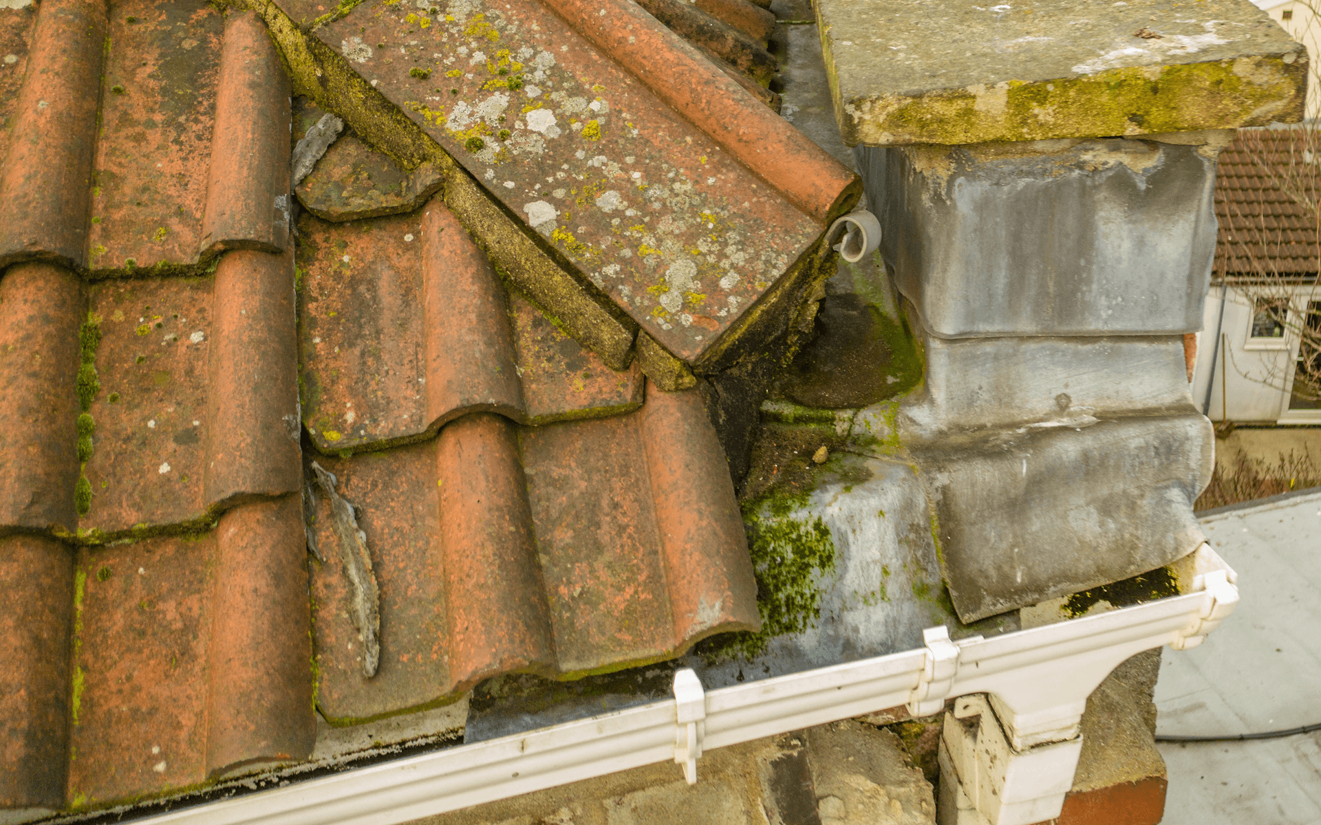 """Mavic 2 Pro"" aerial drone photo of a roof corner taken whilst conducting an aerial roof survey in St George, Bristol"