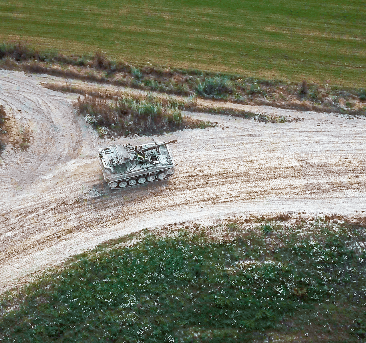 """Mavic 2 Pro"" aerial drone photo of a tank driving on a sand track at ""Juniper Leisure, Tank Driving"" in Winchester"