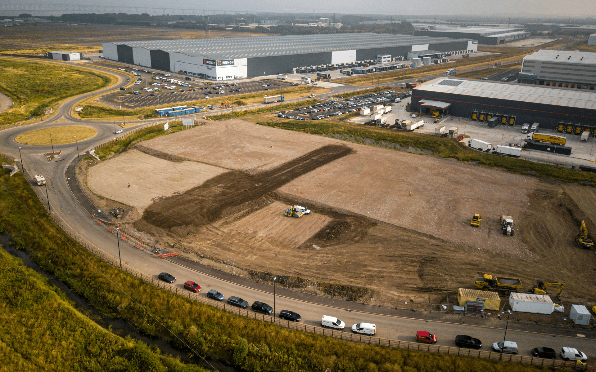 """""""Mavic Pro"""" aerial drone photo of the start of a """"VINCI"""" contruction site of several warehouses in Avonmouth, Bristol"""