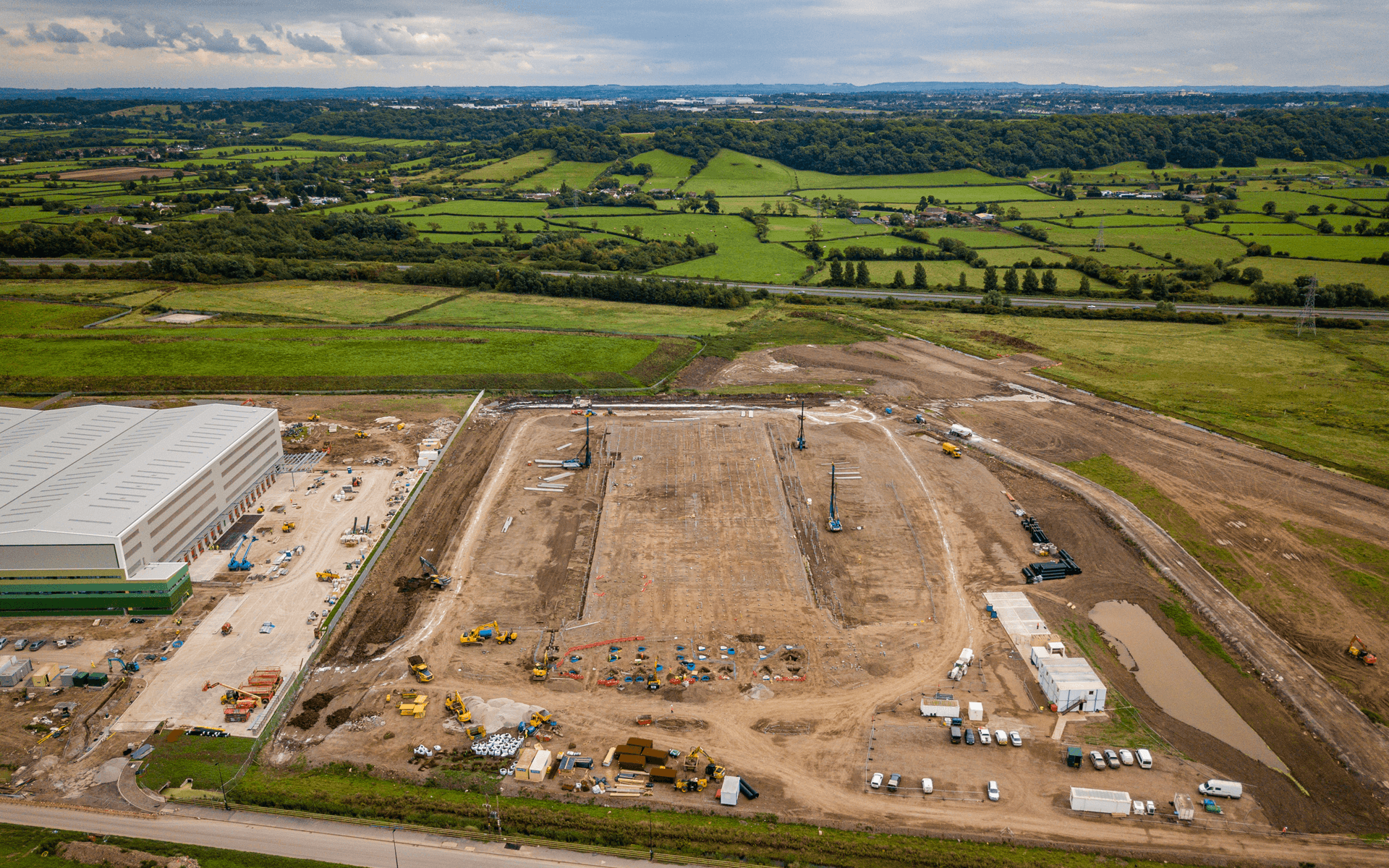 """""""Mavic 2 Pro"""" aerial drone photo of the start of a """"Goldbeck"""" contruction site of a DHL warehouse in Avonmouth, Bristol"""