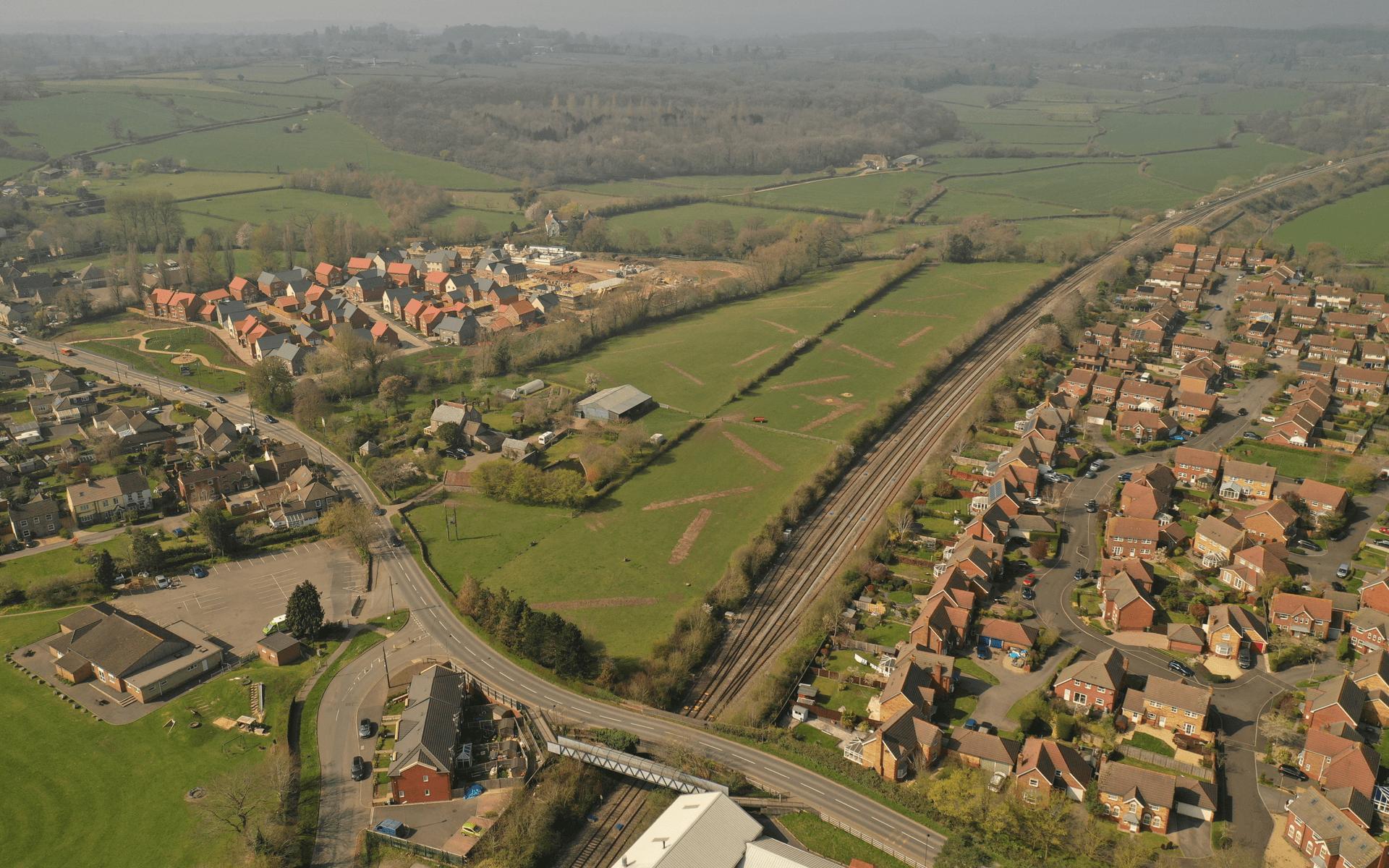 """""""Mavic 2 Pro"""" aerial drone photo of a """"Barratt Homes"""" development site in Charfield, Wotton-under-Edge, Bristol"""