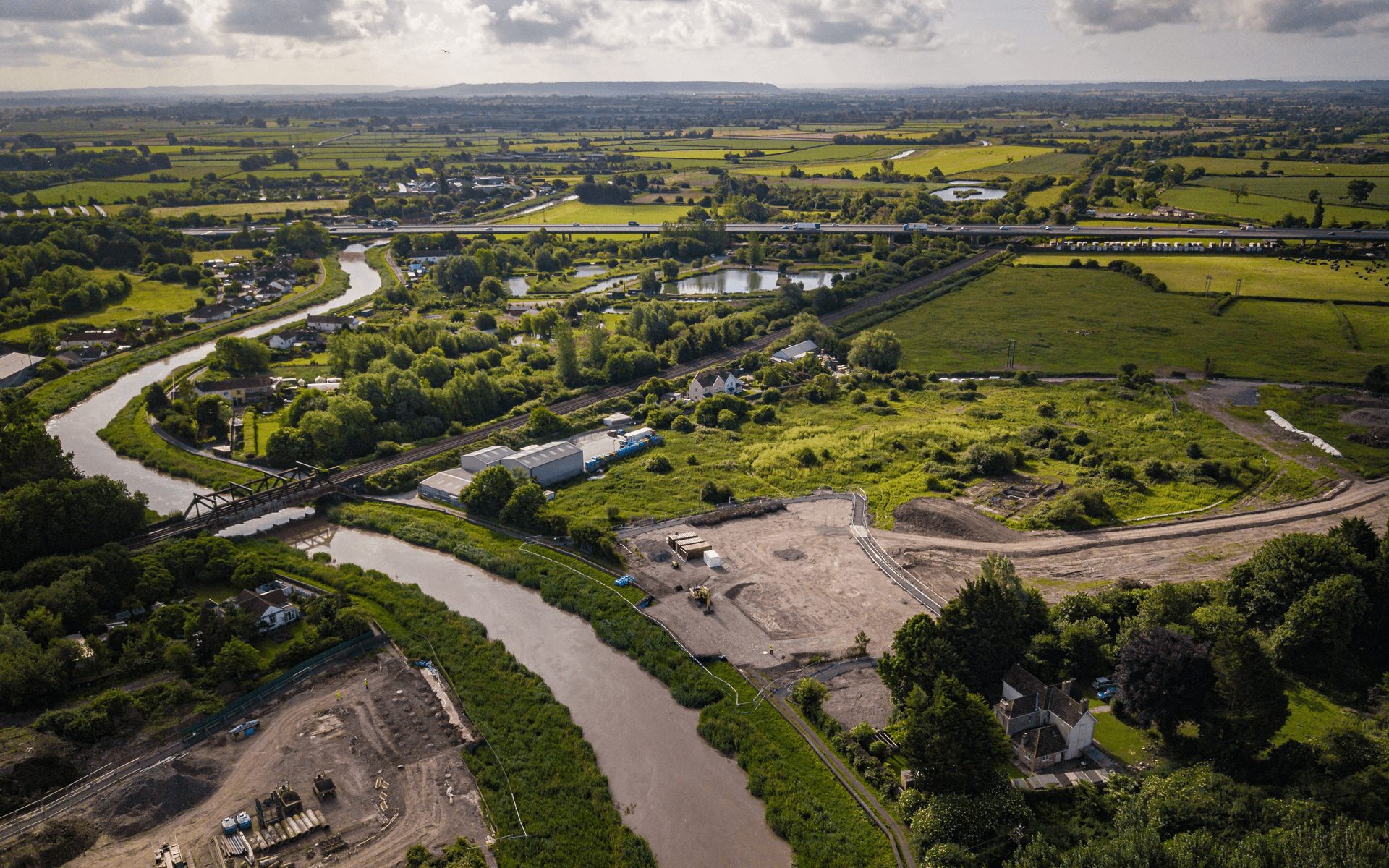 """""""Mavic 2 Pro"""" aerial drone photo of """"Whitemountain"""" building a bridge and access way in Bridgwater"""