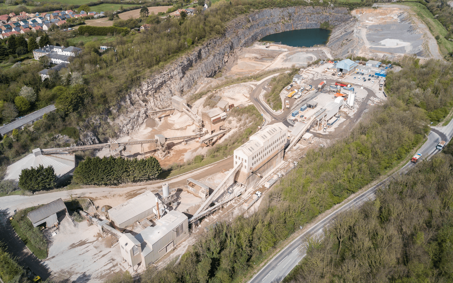 """Mavic Pro"" aerial drone photo of ""Hanson Aggregates"" quarry in Chipping Sodbury, Bristol"