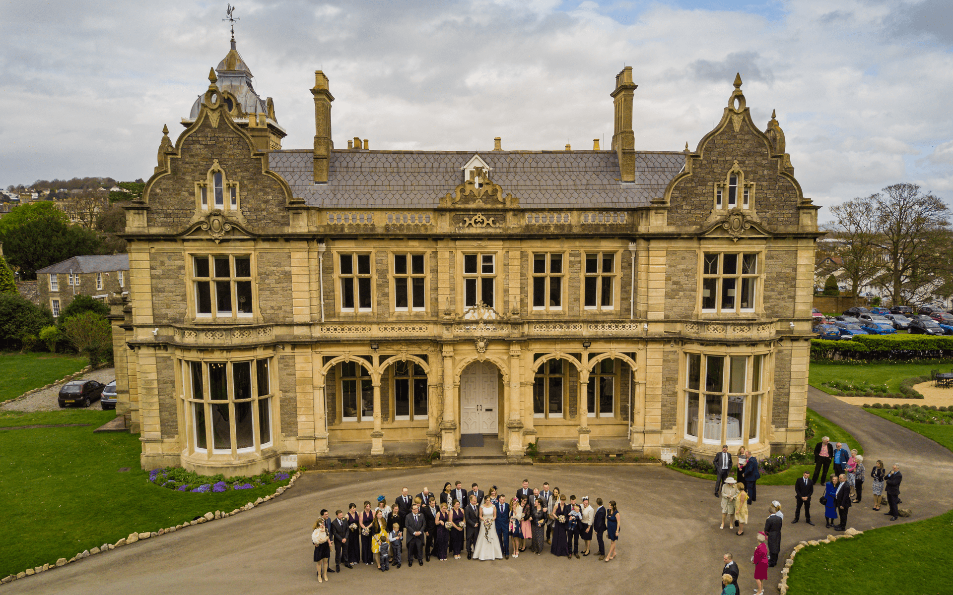 """""""Mavic Pro"""" aerial drone photo of a wedding party at """"Clevedon Hall"""" in Clevedon, Bristol"""