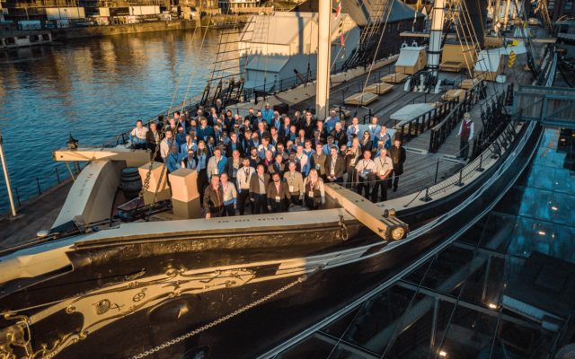 """Mavic 2 Pro"" aerial drone photo, capturing ""Airbus"" employees at a corporate event on the ""SS Great Britain"""