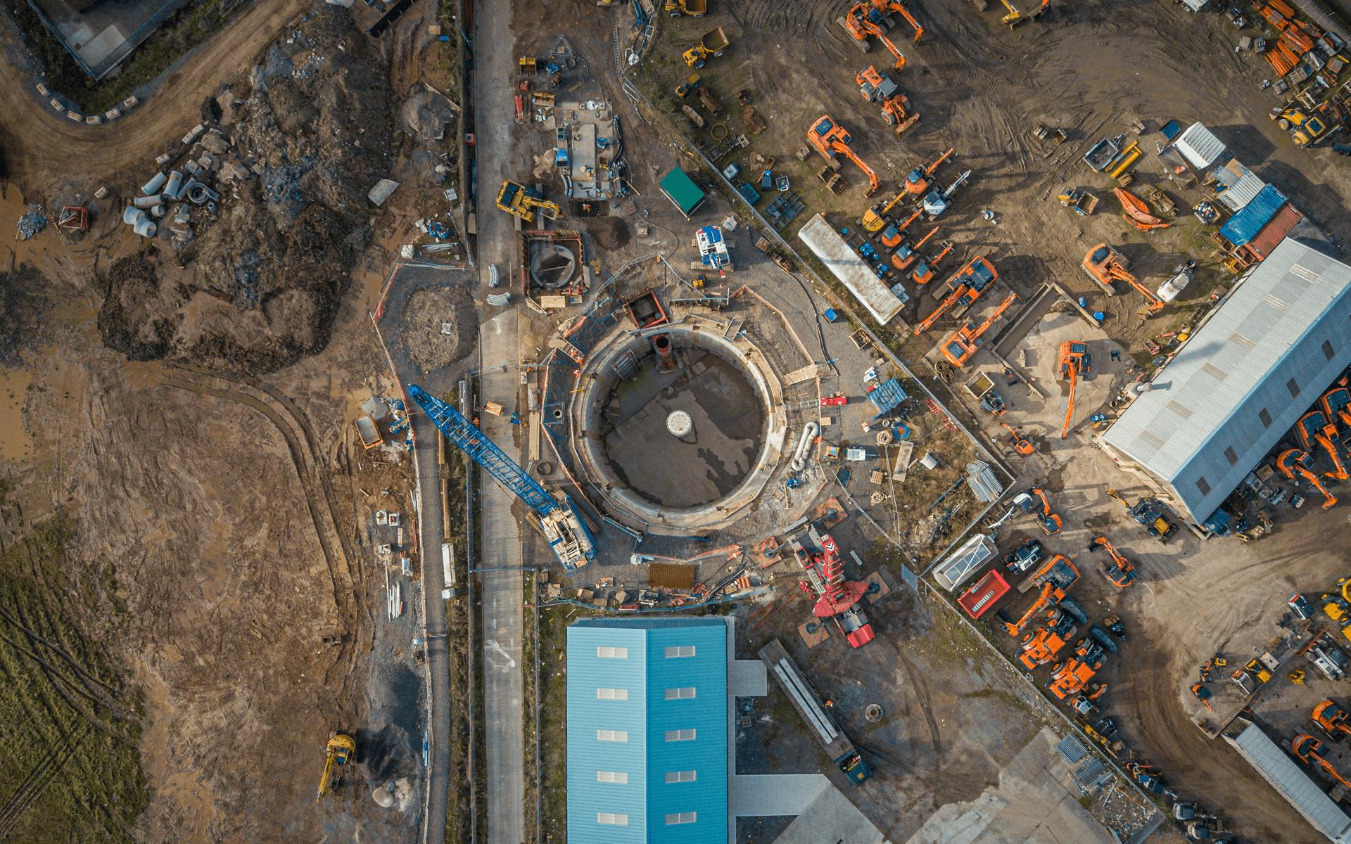 """Mavic Pro"" aerial drone photo of a ""LEWIS Civil Engineering"" flood overflow sewage tank in Bridgwater"