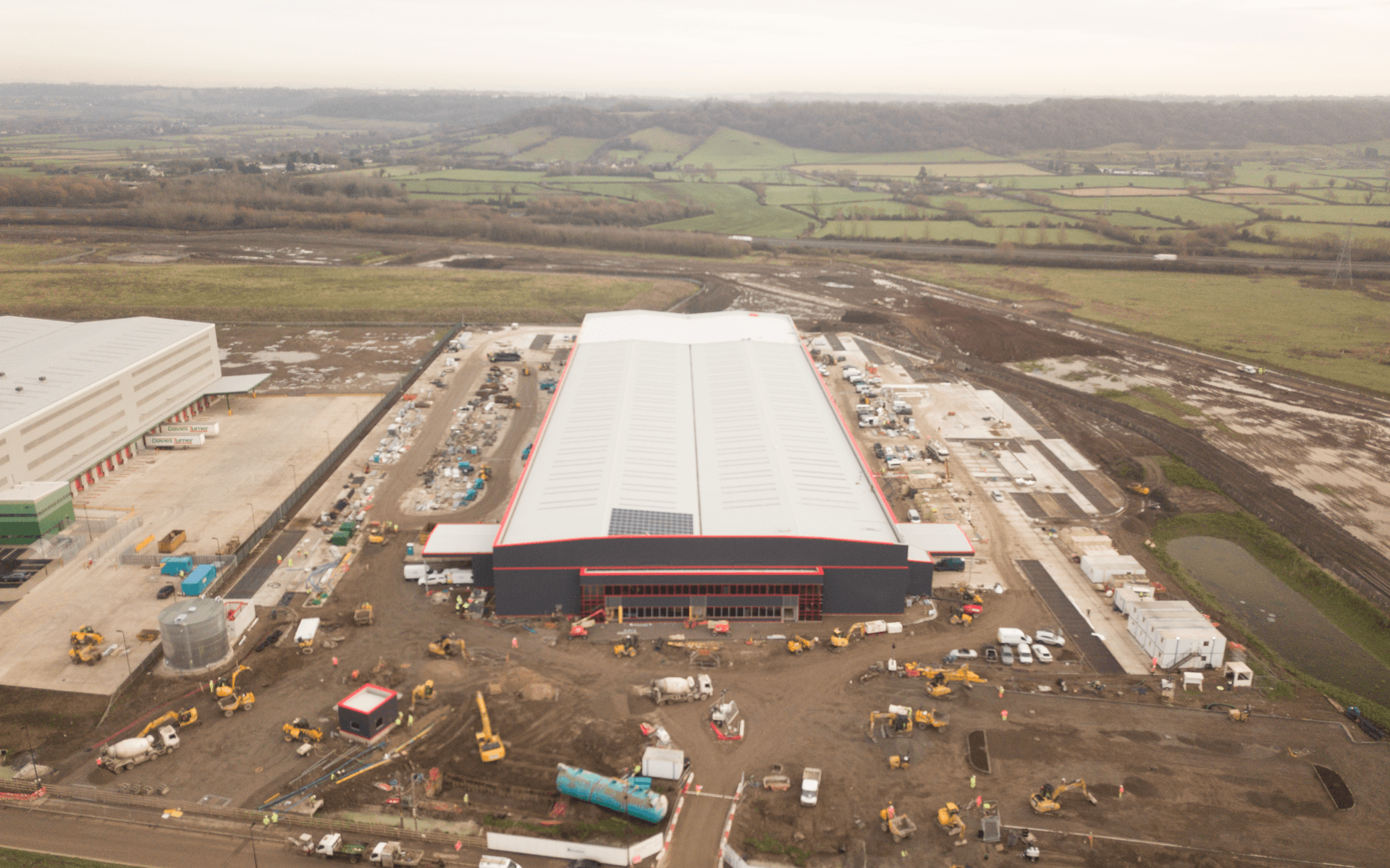 """""""Mavic 2 Pro"""" aerial drone photo of near completion of a """"Goldbeck"""" contruction site of a DHL warehouse in Avonmouth, Bristol"""
