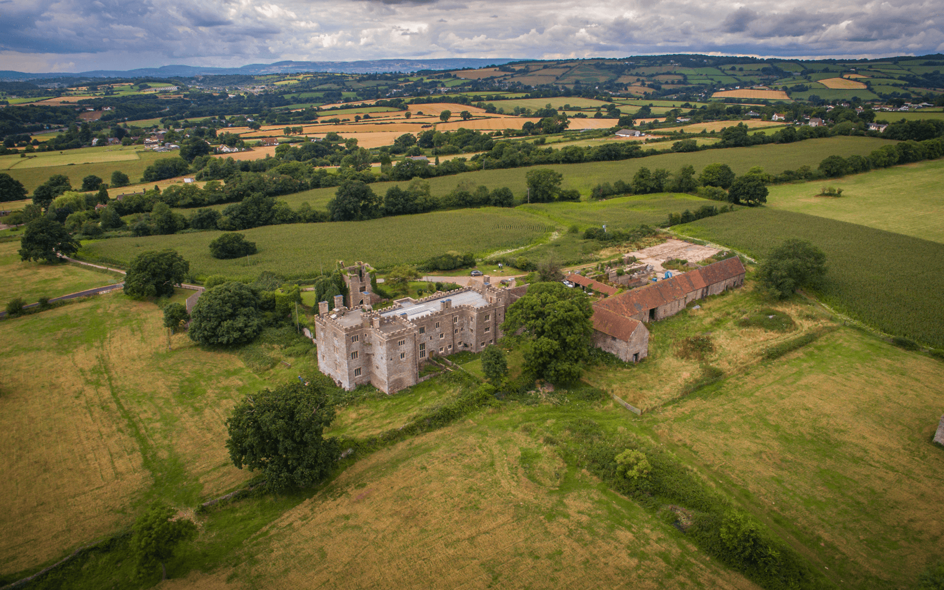 """DJI Inspire 1"" aerial drone photo of Pencoed Castle in Wales"