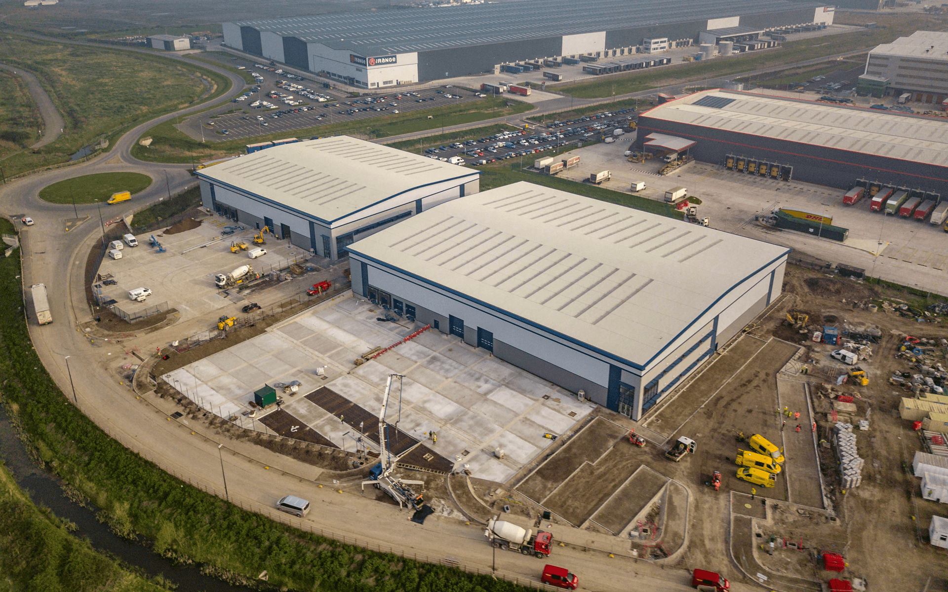 """""""Mavic Pro"""" aerial drone photo of near completion of a """"VINCI"""" contruction site of several warehouses in Avonmouth, Bristol"""