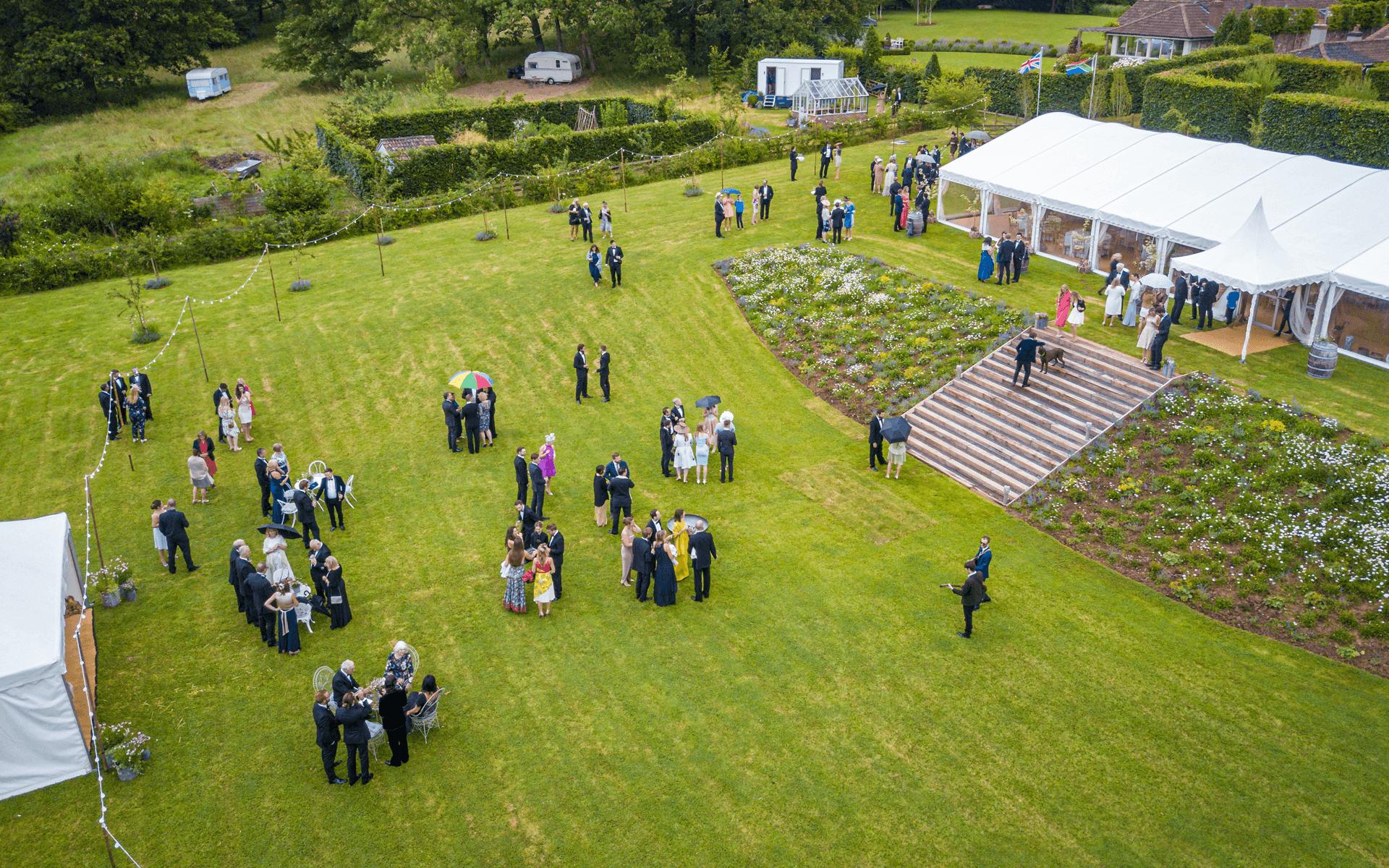 """""""Mavic Pro"""" aerial drone photo of a wedding part and venue in Compton Martin, Bristol"""